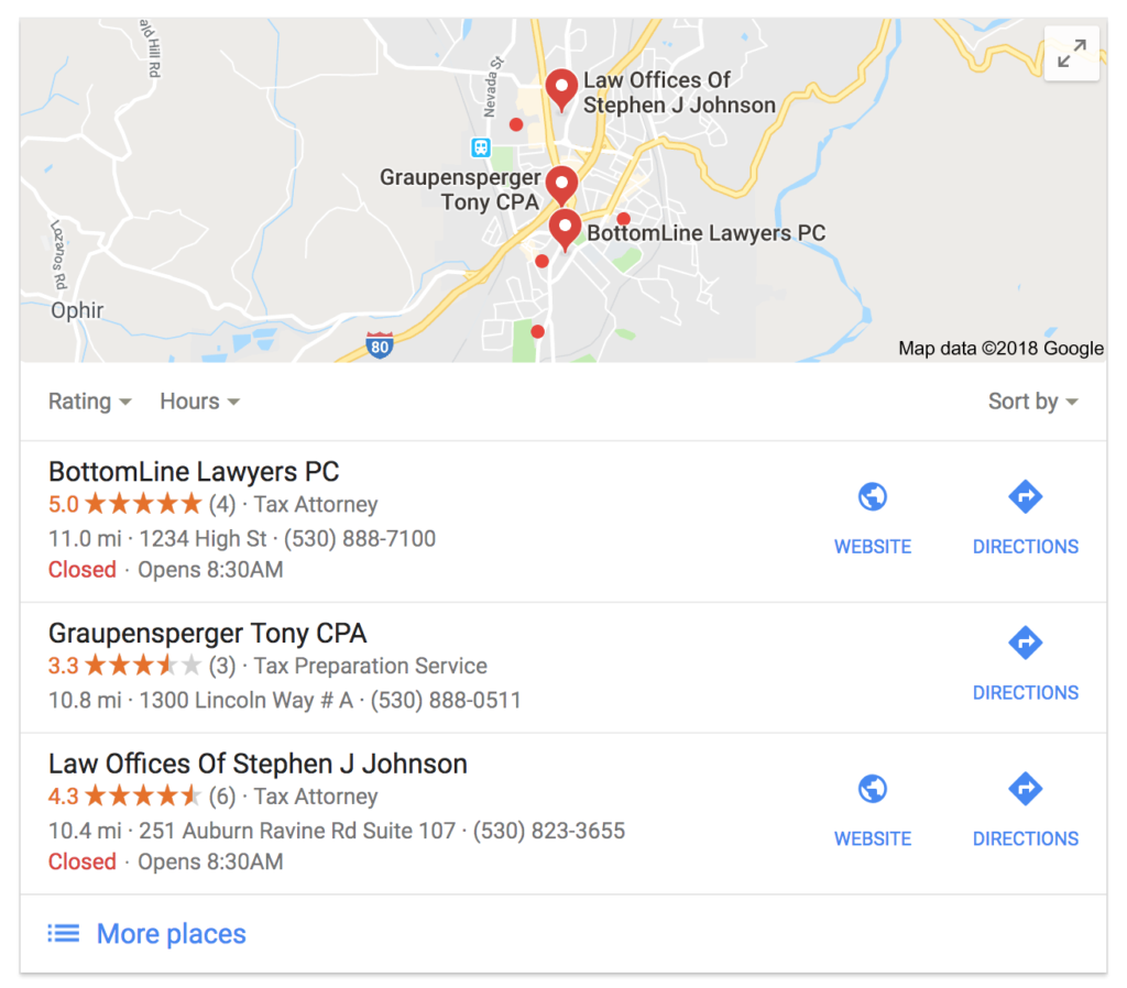 local pack results for tax attorney in auburn ca